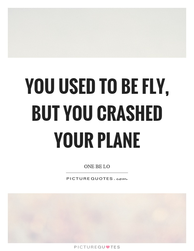 You used to be fly, but you crashed your plane Picture Quote #1