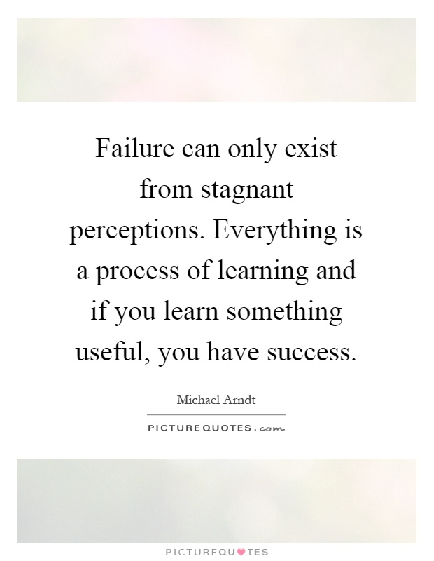 Failure can only exist from stagnant perceptions. Everything is a process of learning and if you learn something useful, you have success Picture Quote #1