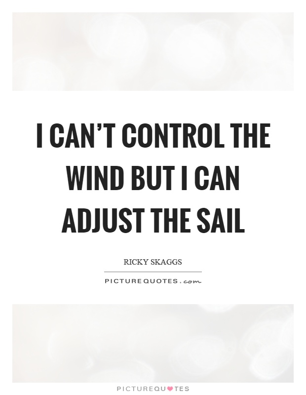 I can't control the wind but I can adjust the sail Picture Quote #1