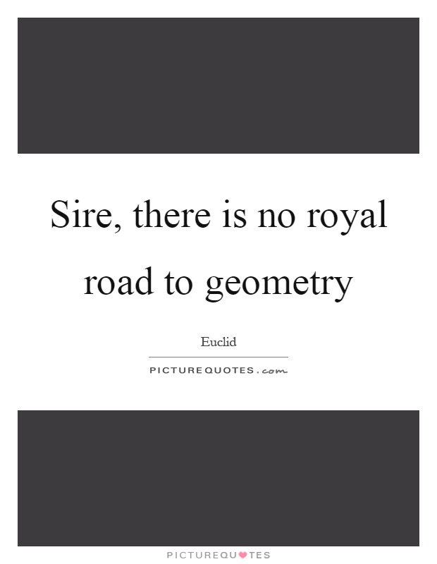 Sire, there is no royal road to geometry Picture Quote #1