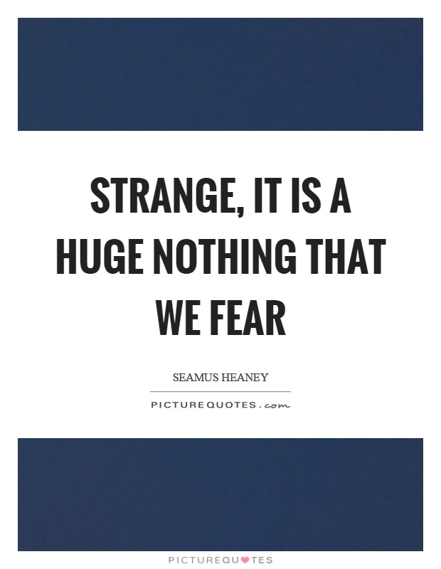 Strange, it is a huge nothing that we fear Picture Quote #1