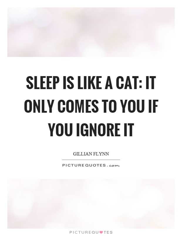 Sleep is like a cat: It only comes to you if you ignore it Picture Quote #1