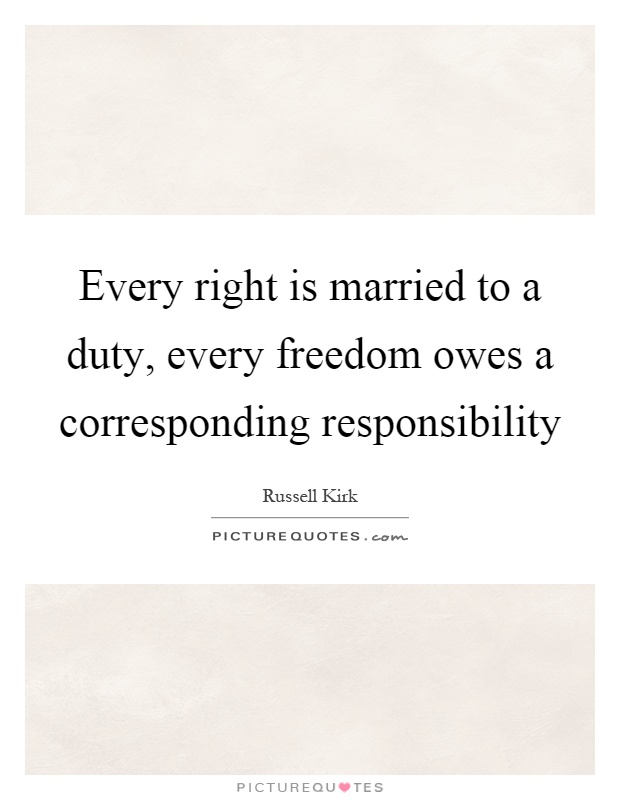 Every right is married to a duty, every freedom owes a corresponding responsibility Picture Quote #1