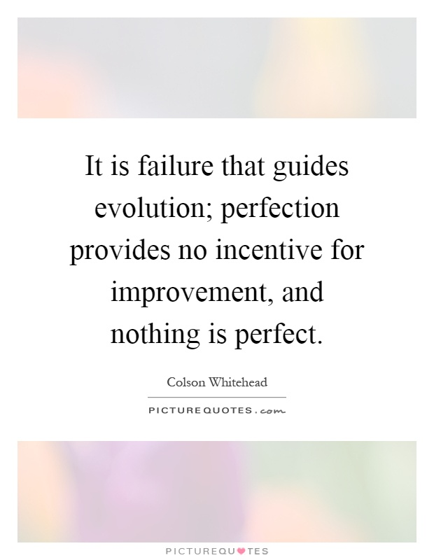 It is failure that guides evolution; perfection provides no incentive for improvement, and nothing is perfect Picture Quote #1