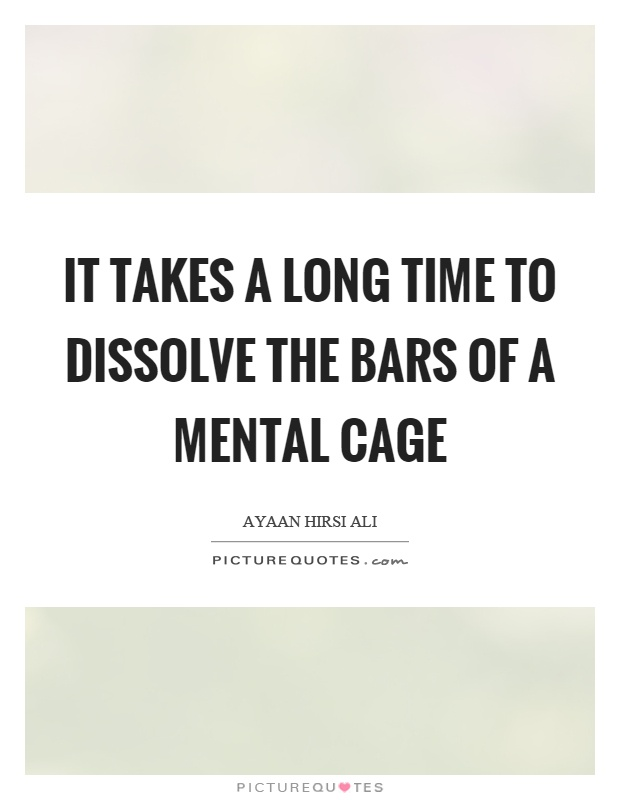 It takes a long time to dissolve the bars of a mental cage Picture Quote #1