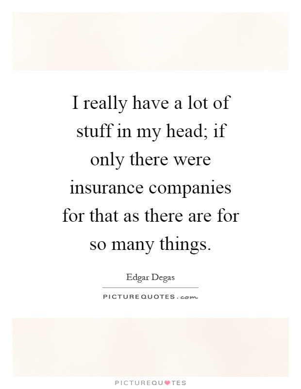 I really have a lot of stuff in my head; if only there were insurance companies for that as there are for so many things Picture Quote #1