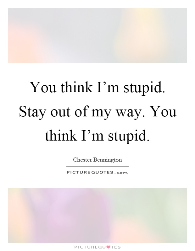 You think I'm stupid. Stay out of my way. You think I'm stupid Picture Quote #1