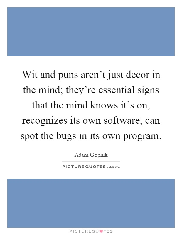 Wit and puns aren't just decor in the mind; they're essential signs that the mind knows it's on, recognizes its own software, can spot the bugs in its own program Picture Quote #1