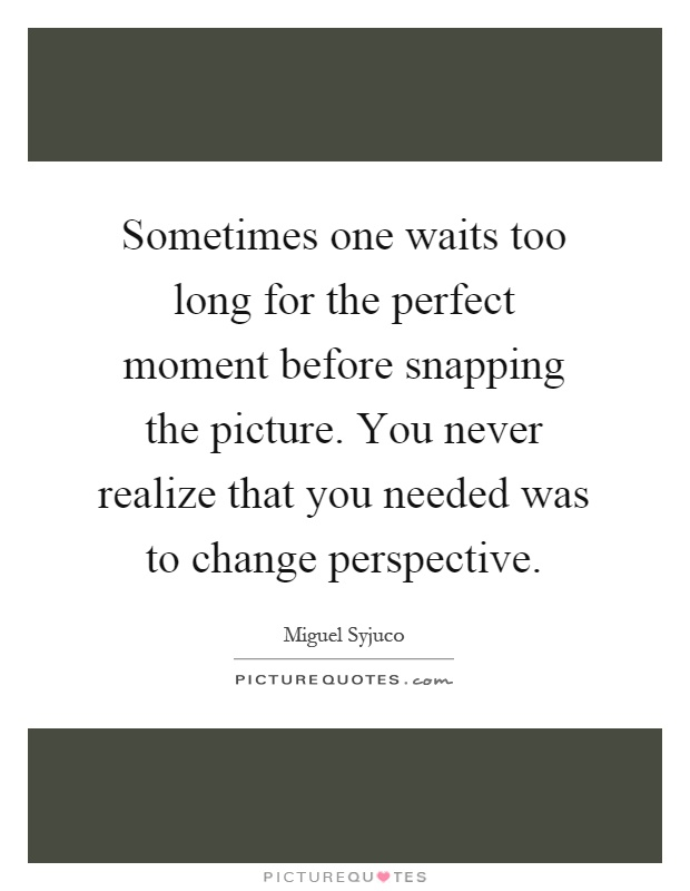 Sometimes one waits too long for the perfect moment before snapping the picture. You never realize that you needed was to change perspective Picture Quote #1