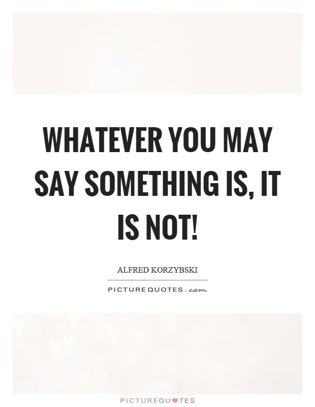 Whatever you may say something is, it is not! Picture Quote #1