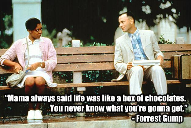 Mama always said life was like a box of chocolates, you never know what you're gonna get Picture Quote #1