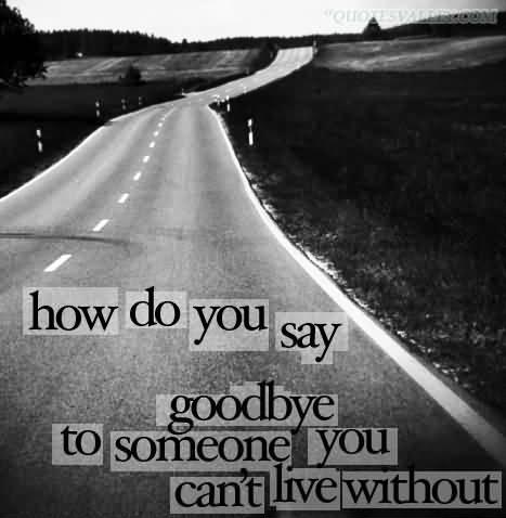 How do you say goodbye to someone you can't live without? Picture Quote #1