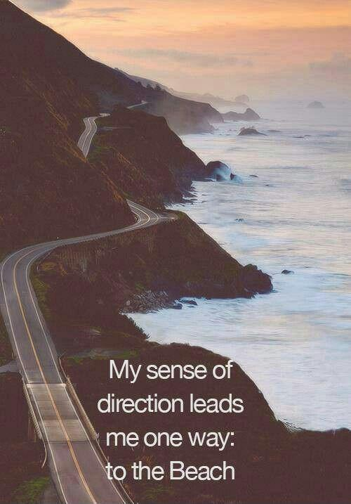 My sense of direction leads me one way; to the beach Picture Quote #1