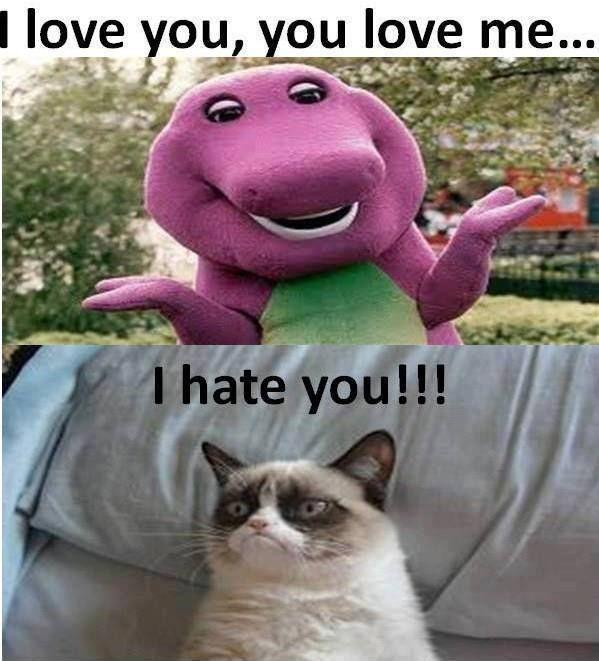love you, you love me. I hate you! Picture Quote #1