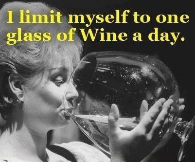 I limit myself to one glass of wine a day Picture Quote #1
