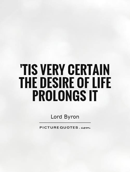 'Tis very certain the desire of life prolongs it Picture Quote #1