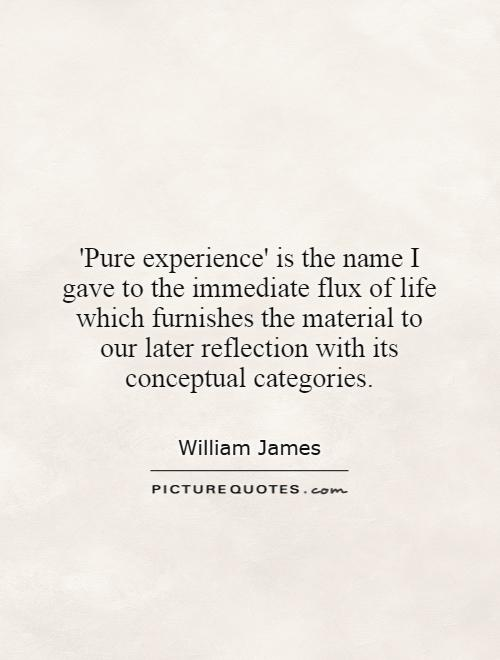'Pure experience' is the name I gave to the immediate flux of life which furnishes the material to our later reflection with its conceptual categories Picture Quote #1