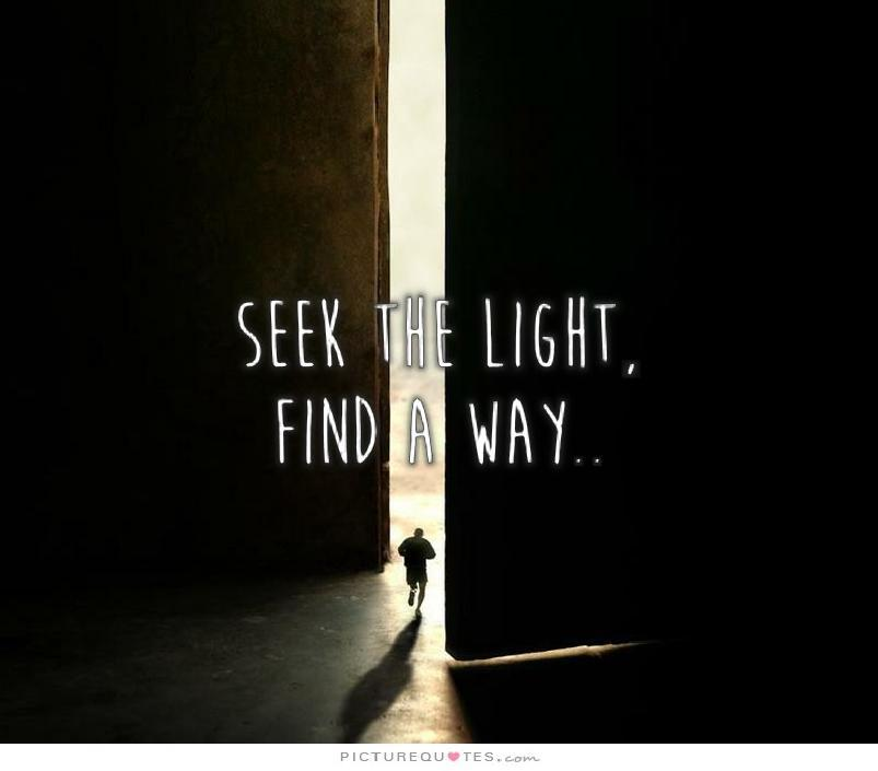 Seek the light, find a way Picture Quote #1