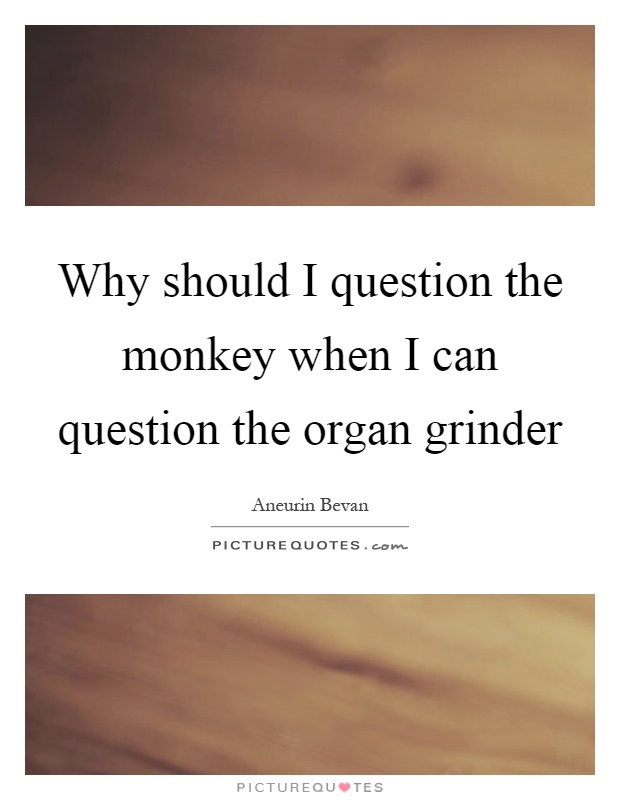 Why should I question the monkey when I can question the organ grinder Picture Quote #1