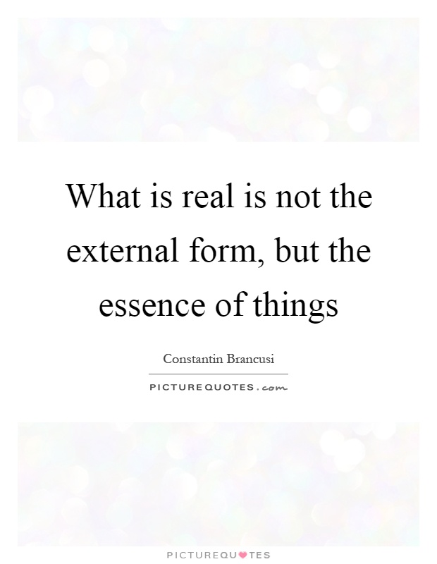 What is real is not the external form, but the essence of things Picture Quote #1