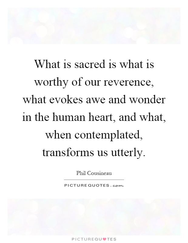What is sacred is what is worthy of our reverence, what evokes awe and wonder in the human heart, and what, when contemplated, transforms us utterly Picture Quote #1