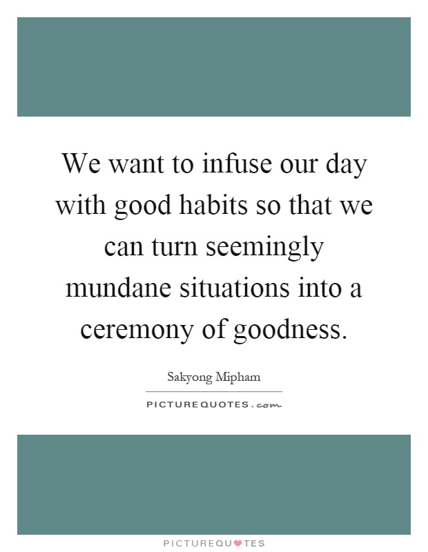 We want to infuse our day with good habits so that we can turn seemingly mundane situations into a ceremony of goodness Picture Quote #1