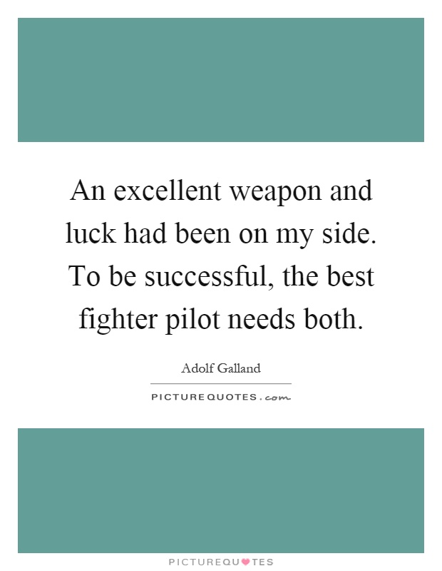 An excellent weapon and luck had been on my side. To be successful, the best fighter pilot needs both Picture Quote #1