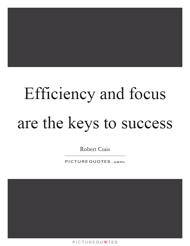 Efficiency and focus are the keys to success Picture Quote #1