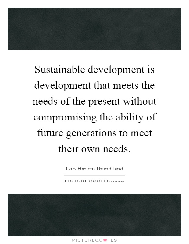 Sustainable development is development that meets the needs of the present without compromising the ability of future generations to meet their own needs Picture Quote #1