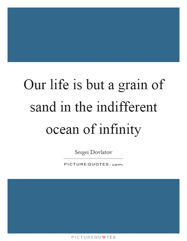 Our life is but a grain of sand in the indifferent ocean of infinity Picture Quote #1