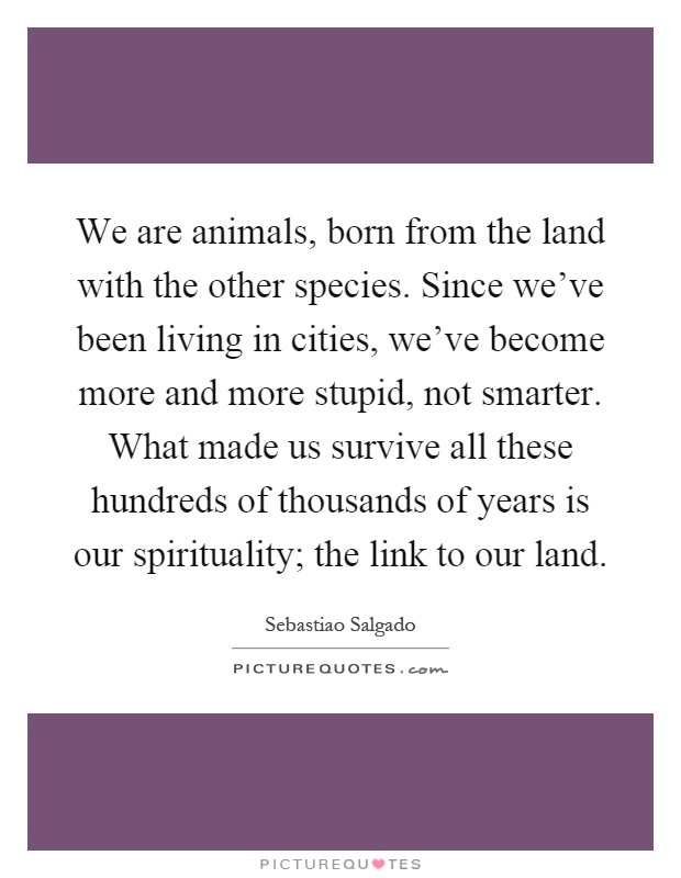 We are animals, born from the land with the other species. Since we've been living in cities, we've become more and more stupid, not smarter. What made us survive all these hundreds of thousands of years is our spirituality; the link to our land Picture Quote #1
