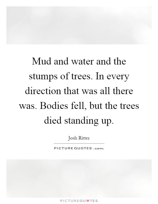Mud and water and the stumps of trees. In every direction that was all there was. Bodies fell, but the trees died standing up Picture Quote #1