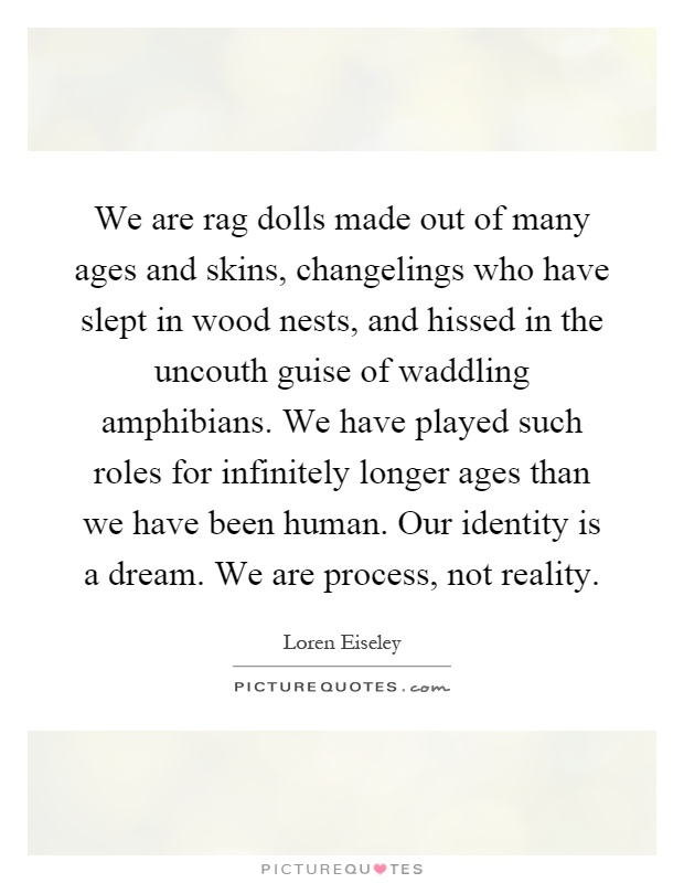 We are rag dolls made out of many ages and skins, changelings who have slept in wood nests, and hissed in the uncouth guise of waddling amphibians. We have played such roles for infinitely longer ages than we have been human. Our identity is a dream. We are process, not reality Picture Quote #1
