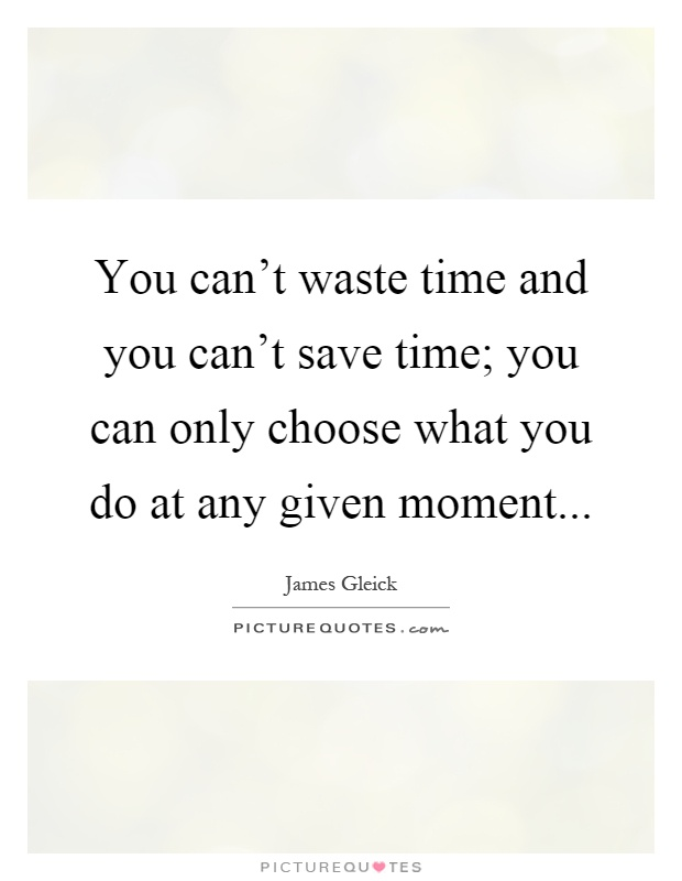 You can't waste time and you can't save time; you can only choose what you do at any given moment Picture Quote #1