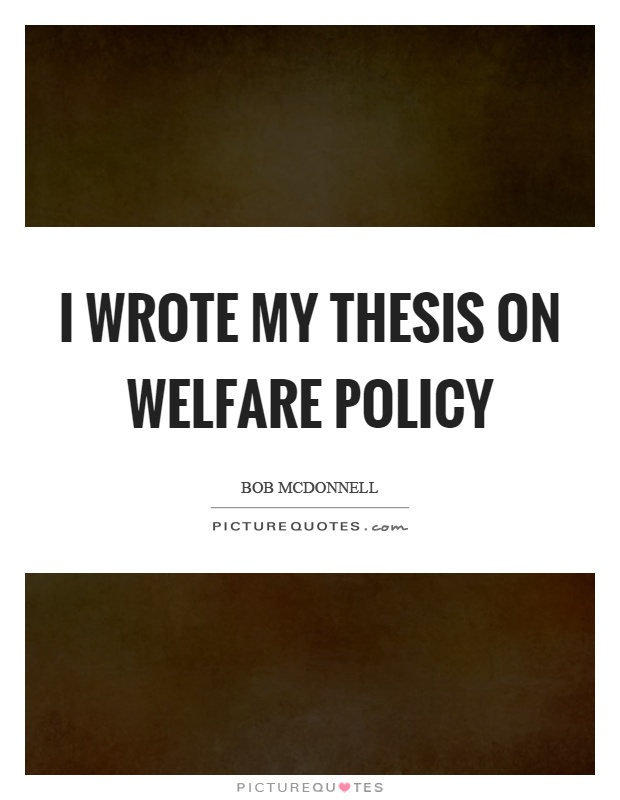 thesis on welfare reform