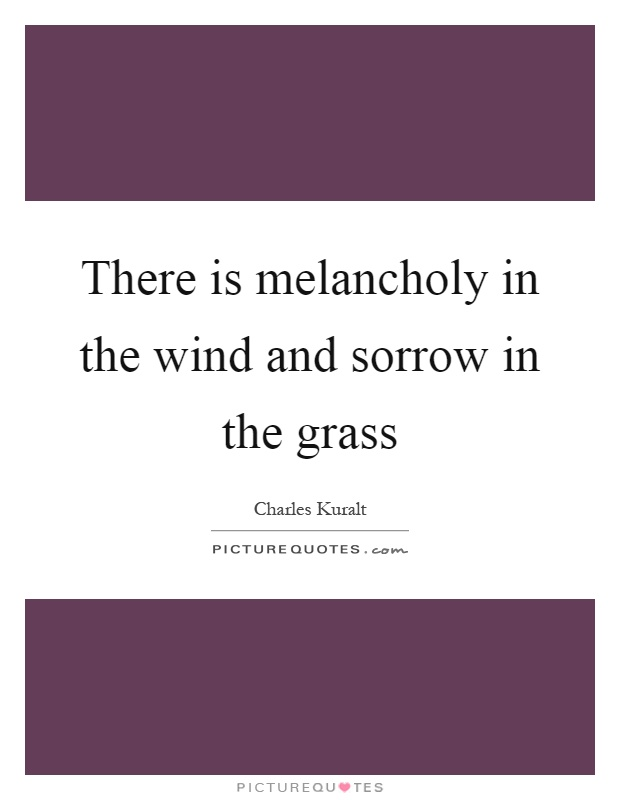 There is melancholy in the wind and sorrow in the grass Picture Quote #1