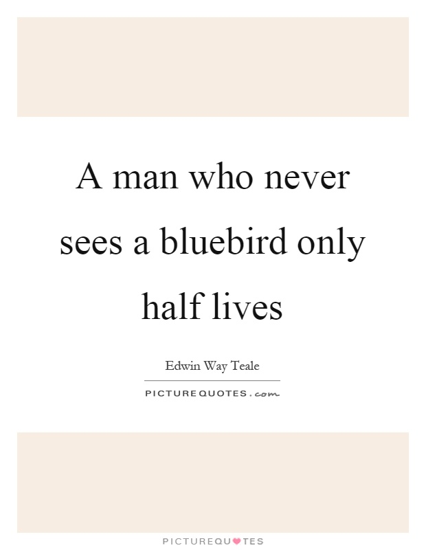 A man who never sees a bluebird only half lives Picture Quote #1
