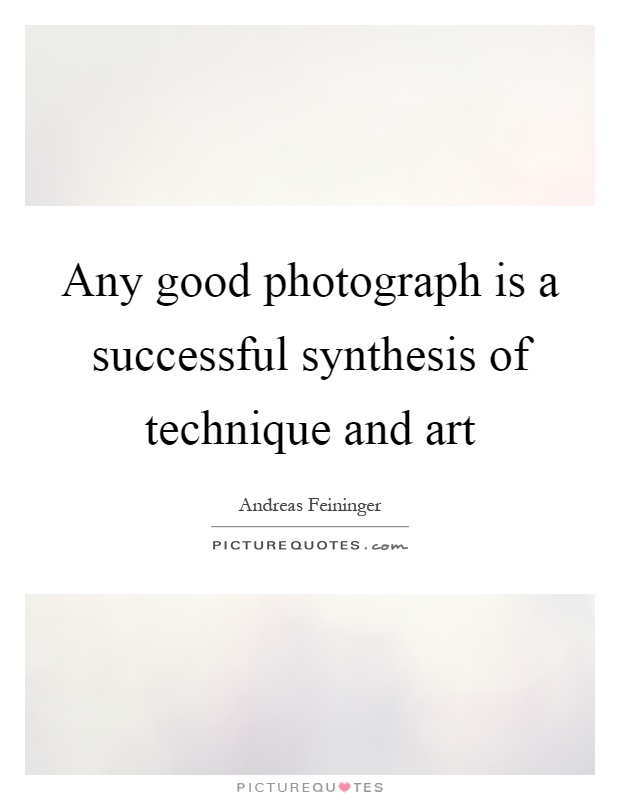 Any good photograph is a successful synthesis of technique and art Picture Quote #1