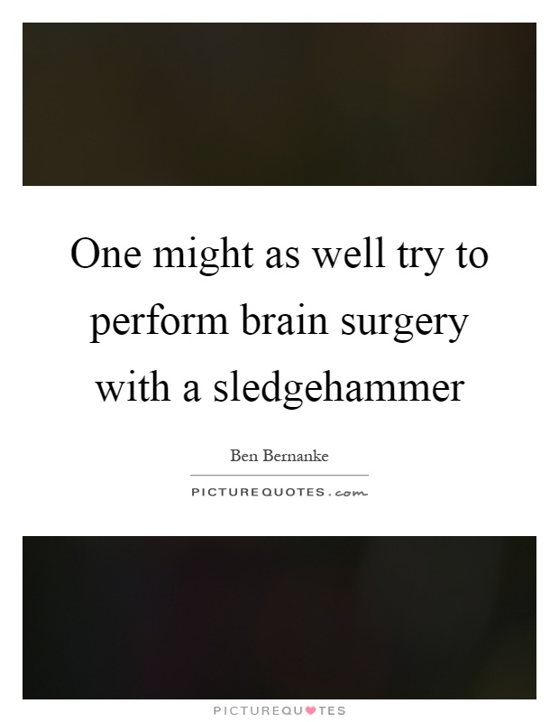 One might as well try to perform brain surgery with a sledgehammer Picture Quote #1