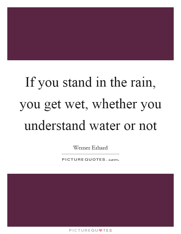If you stand in the rain, you get wet, whether you understand water or not Picture Quote #1