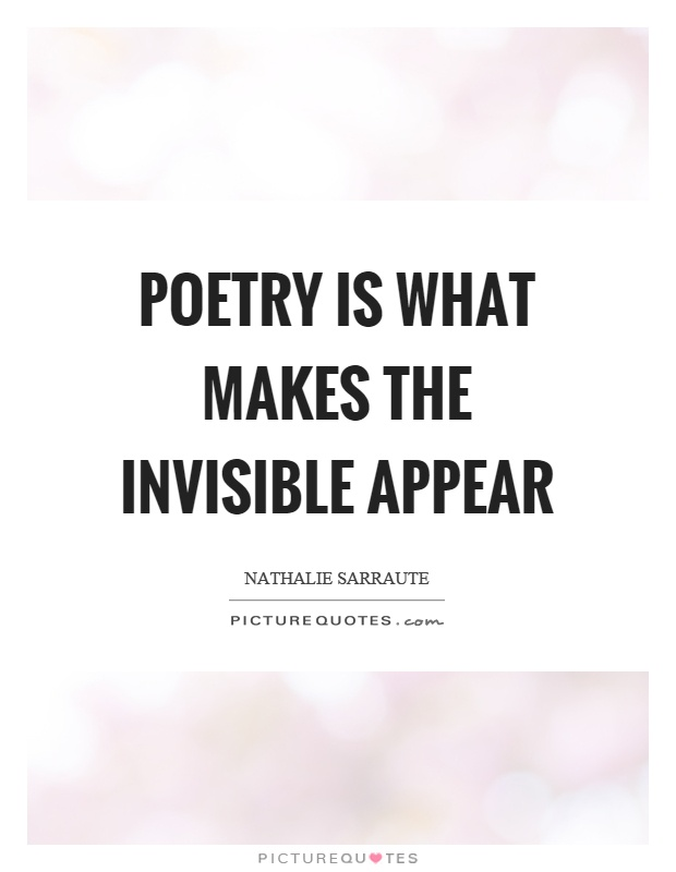 Poetry is what makes the invisible appear Picture Quote #1