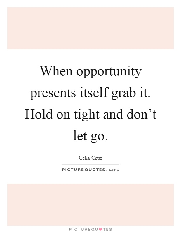 When opportunity presents itself grab it. Hold on tight and don't let go Picture Quote #1