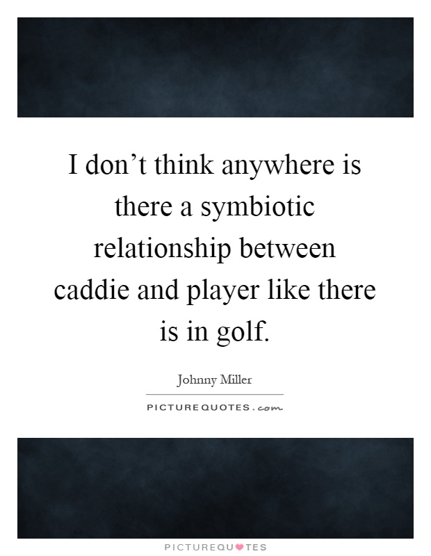 I don't think anywhere is there a symbiotic relationship between caddie and player like there is in golf Picture Quote #1