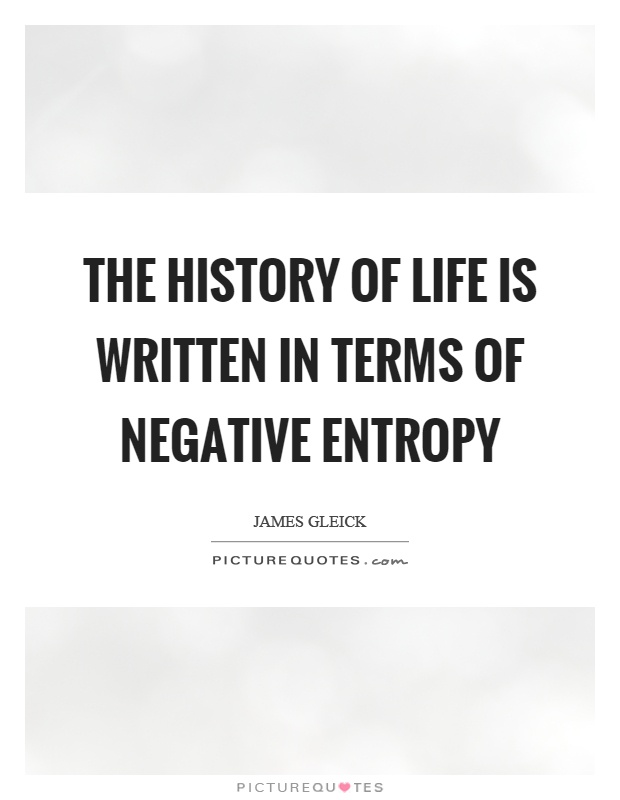 The history of life is written in terms of negative entropy Picture Quote #1