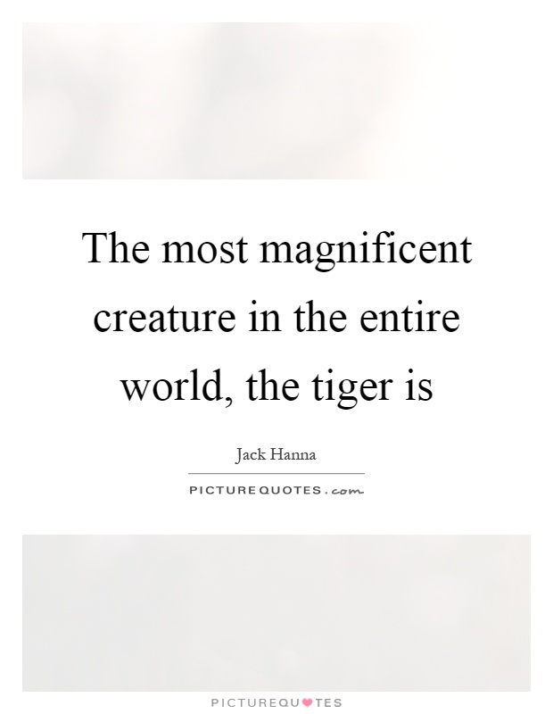 The most magnificent creature in the entire world, the tiger is Picture Quote #1