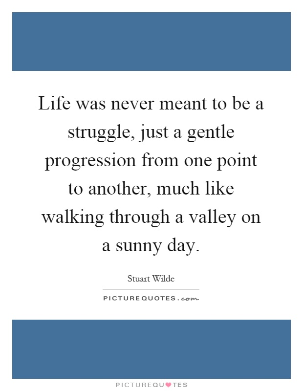 Life was never meant to be a struggle, just a gentle progression from one point to another, much like walking through a valley on a sunny day Picture Quote #1