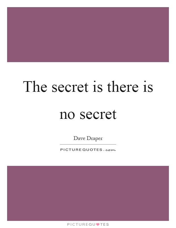 The secret is there is no secret Picture Quote #1