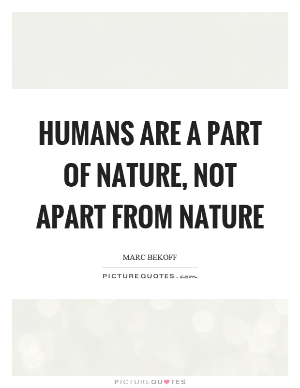 Humans are a part of nature, not apart from nature Picture Quote #1