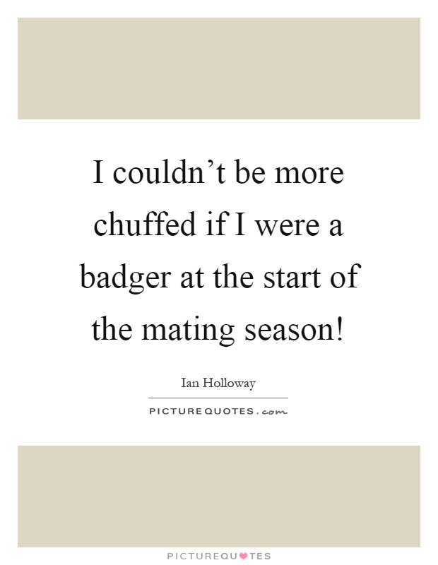 I couldn't be more chuffed if I were a badger at the start of the mating season! Picture Quote #1