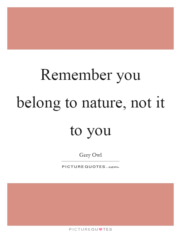 Remember you belong to nature, not it to you Picture Quote #1
